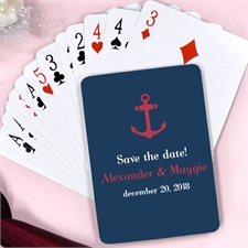 Create Red & Navy Anchor Nautical Wedding Personalized Playing Cards