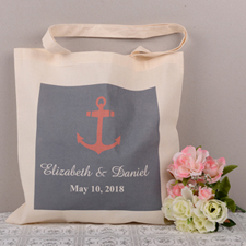 Personalized Red & Navy Anchor Tote Bag