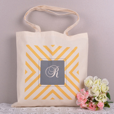 Yellow Cross Chevron Personalized Monogrammed Tote Bag