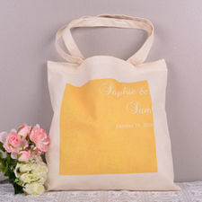 Yellow Floral Pattern Personalized Wedding Tote Bag