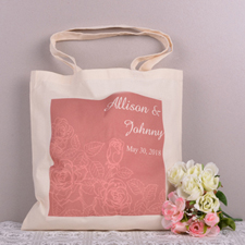 Red Floral Pattern Personalized Wedding Tote Bag