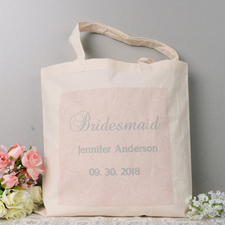 Pink Swirl Pattern Wedding Personalized Tote Bag