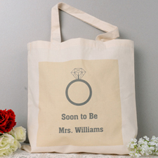 Wedding Rings Personalized Engagement Tote Bag