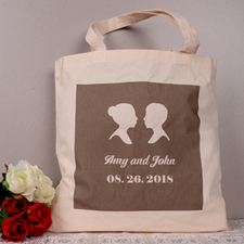 Silhouettes Personalized Marriage Tote Bag