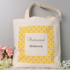 Yellow Square Box Personalized Monogrammed Tote Bag