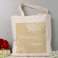 Personalized White Lace Tote Bag
