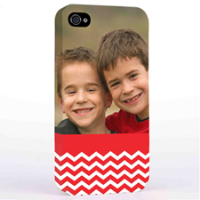 Personalized Red Chevron Pattern iPhone 4 Hard Case Cover
