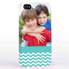Personalized Aqua Chevron Pattern iPhone 4 Hard Case Cover