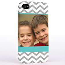 Personalized Aqua & Grey Chevron Photo iPhone 4 Hard Case Cover
