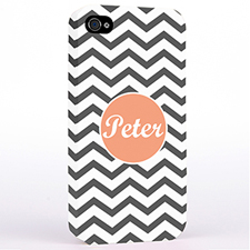 Personalized Grey Chevron iPhone 4 Hard Case Cover