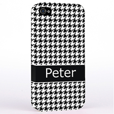 Personalized Black Hounds Tooth Monogrammedmed Hard Case Cover