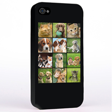 Personalized Simply Black 12 Collage Instagram iPhone 4 Hard Case Cover