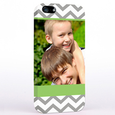 Personalized Grey Aqua Chevron Photo iPhone 5 Case