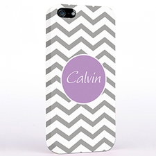 Personalized Silver Grey Chevron iPhone Case
