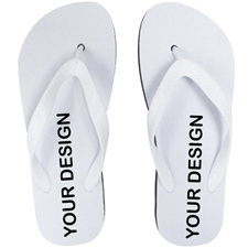 Custom Imprint Flip Flops (One Image) White Straps, Men Small