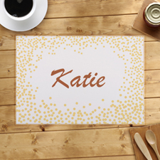 Personalized Gold Confetti Dots Placemats