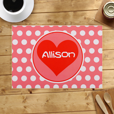 Personalized Carol And White Polka Dots Heart Placemats