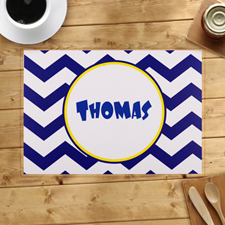 Personalized Blue Chevron Placemats