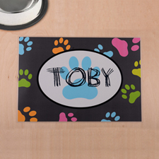 Personalized Colorful Paw Print And Grey Pet Meal Mat
