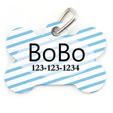 Aqua Stripe Bone Shape (Custom 1 Side) Personalized Dog Tag