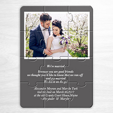 Personalized Grey Wedding Photo Puzzle Invite
