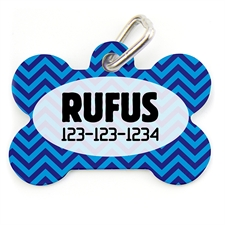 Navy And Royal Blue Chevron Bone Shape (Custom 1 Side) Personalized Dog Tag