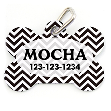 Black And White Chevron Bone Shape (Custom 1 Side) Personalized Dog Tag