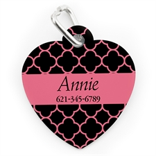 Custom Printed Black & Carol Clover, Heart Shape Dog Or Cat Tag