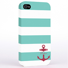 Personalized Aqua Stripe Red Anchor Monogrammed Hard Case Cover