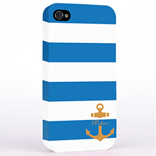 Personalized Blue Stripe Orange Anchor Monogrammed Hard Case Cover