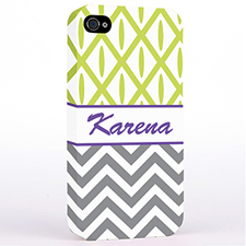 Personalized Grey Chevron Lime Ikat Hard Case Cover