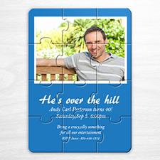 Personalized Blue Photo Birthday Puzzle Invite