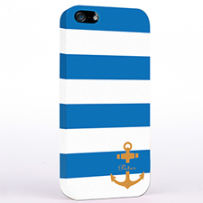 Personalized Blue And Orange Anchor Monogrammed iPhone Case
