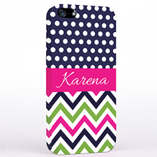 Personalized Colorful Chevron Black & White Polka Dots iPhone Case