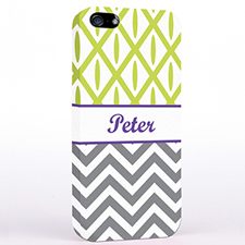 Personalized Grey Chevron Lime Ikat iPhone Case