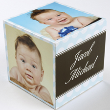 Polka Dots Baby Boy Birth Announcement Wood Photo Cube, 5 panels