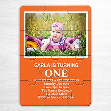 Personalized Orange Photo Birthday Puzzle Invite