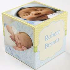 Personalized Birthday Boy Wood Photo Cube, 5 panels