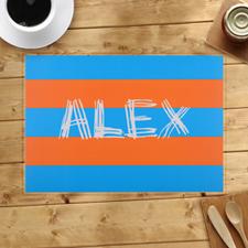 Personalized Blue Orange Stripes Placemats