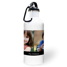 Personalized Photo Black Two Collage Textbox Water Bottle