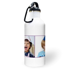 Personalized Photo Purple Two Collage Two Textbox Water Bottle