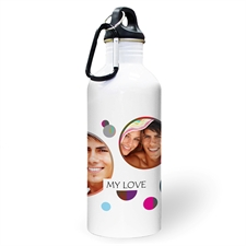 Personalized Photo Colorful Dots Three Collage Textbox Water Bottle