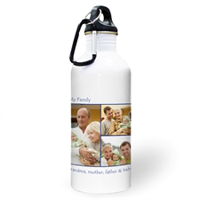 Personalized Photo Navy Three Collage Two Textbox Water Bottle