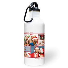 Personalized Photo Red Six Collage Two Textbox Water Bottle