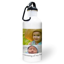 Personalized Photo White Four Collage Textbox Water Bottle
