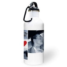 Personalized Photo Four Collage Heart Two Textbox Water Bottle
