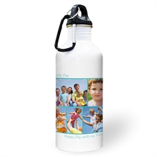 Personalized Photo Aqua Five Collage Two Textbox Water Bottle