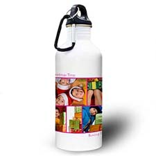Personalized Photo Hot Pink Five Collage Two Textbox Water Bottle