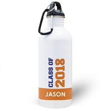 Personalized Photo Orange Class Of 2018 Water Bottle