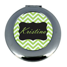 Personalized Lime Chevron Round Make Up Mirror